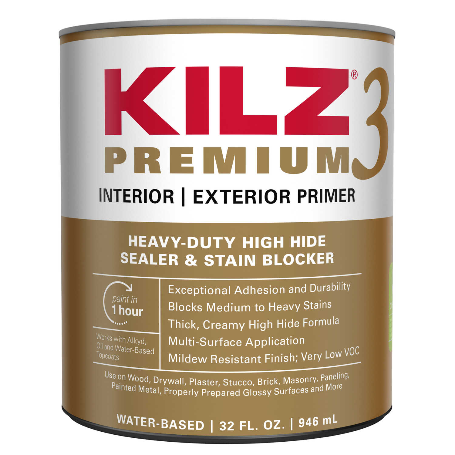 KILZ  Premium  White  Flat  Water-Based  Primer and Sealer  1 qt.