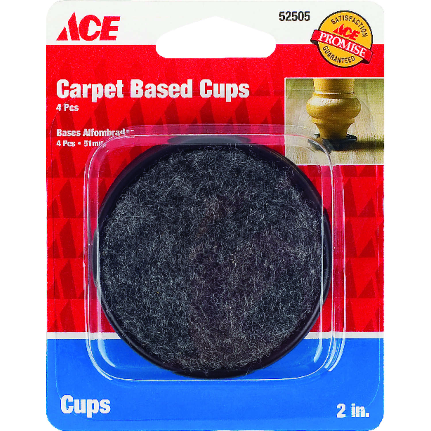 Ace  Plastic  Caster Cup  Black  2 in. W Round  4 pk