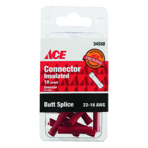 Ace  Insulated Wire  Butt Connector  Red  10 pk