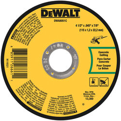 DeWalt  4-1/2 in. Dia. x 7/8 in.  Aluminum Oxide  Masonry Cutting Wheel  1 pc.