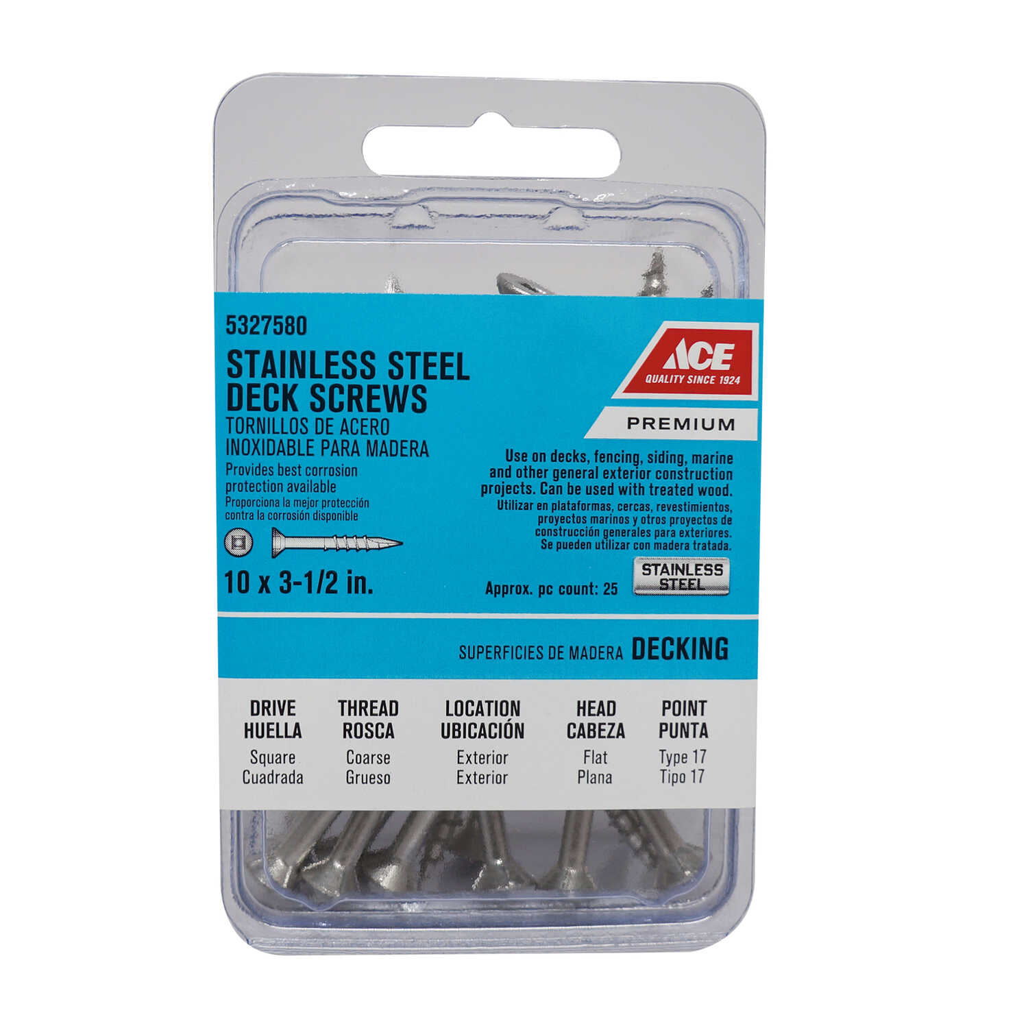 Ace  No. 10   x 3-1/2 in. L Square  Bugle Head Stainless Steel  Deck Screws  25 pk