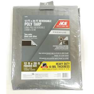 Ace  12 ft. W x 20 ft. L Heavy Duty  Tarp  Silver/Black  Polyethylene