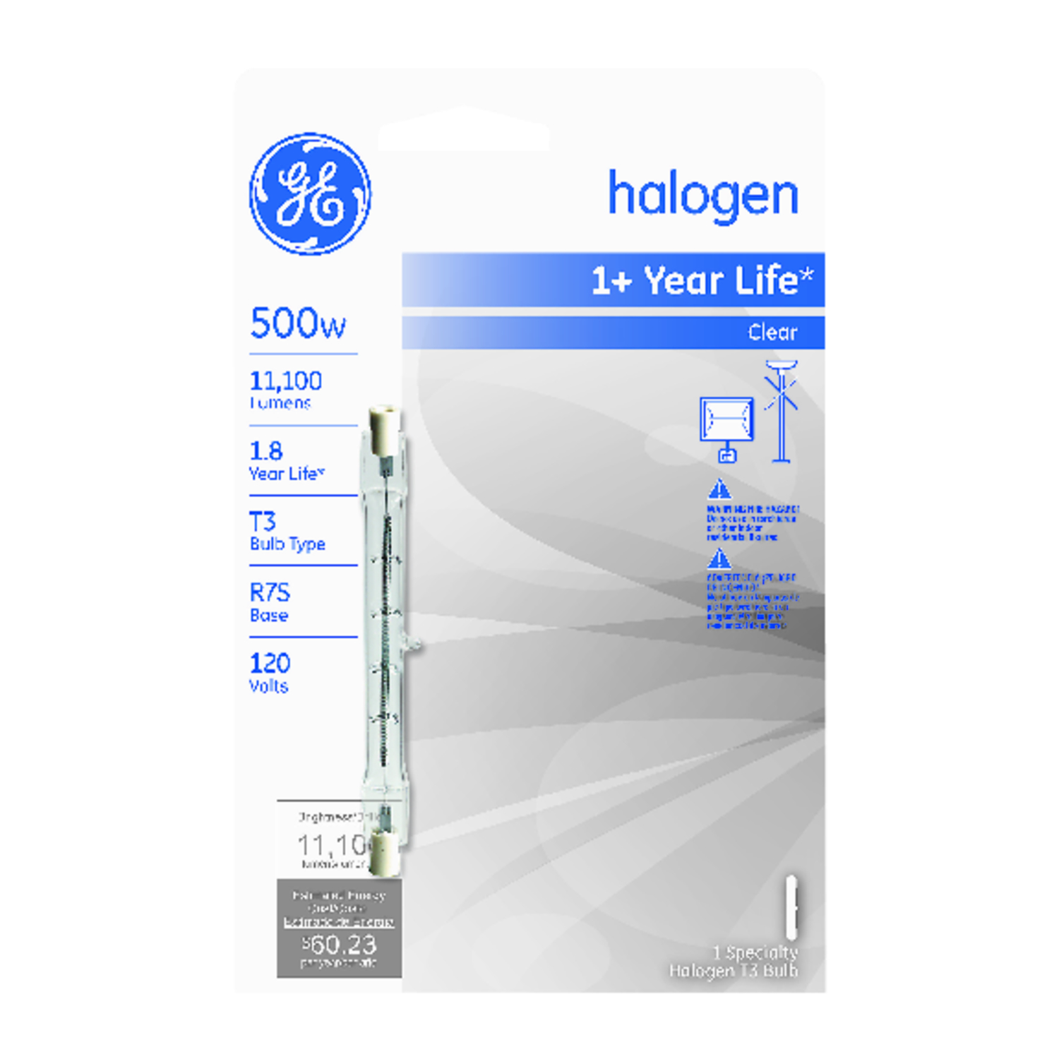 GE Lighting  500 watts T3  Halogen Bulb  11100 lumens White  1 pk Specialty