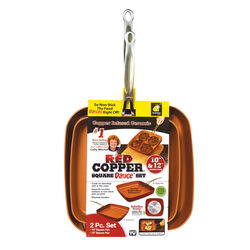 Red Copper  Square Dance  Ceramic Copper  Fry Pan Set  10 in. and 12 in.