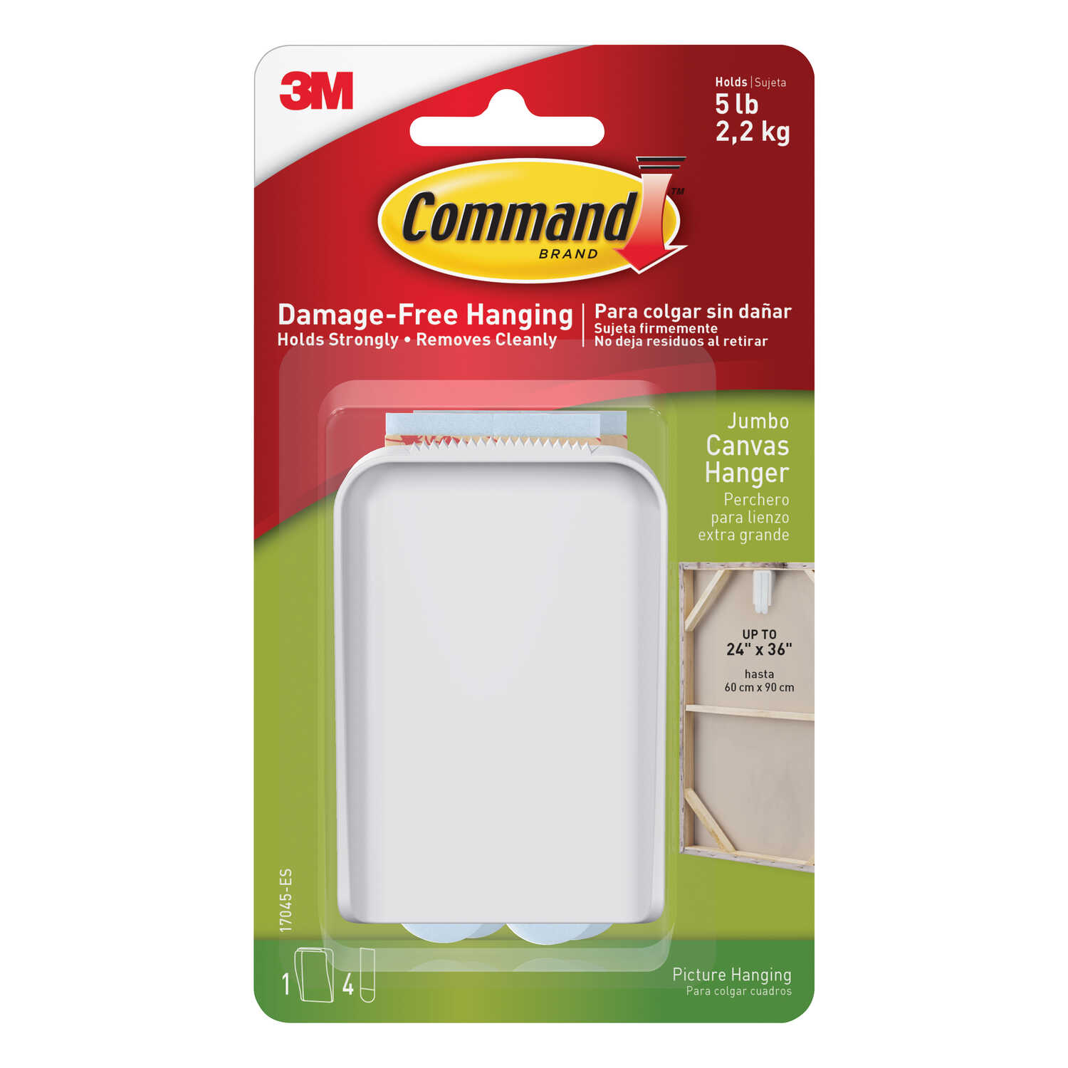 3M  Command  Jumbo  White  Canvas Picture Hanger  Plastic Coated  1 pk Canvas  5 lb. 5 lb. Plastic