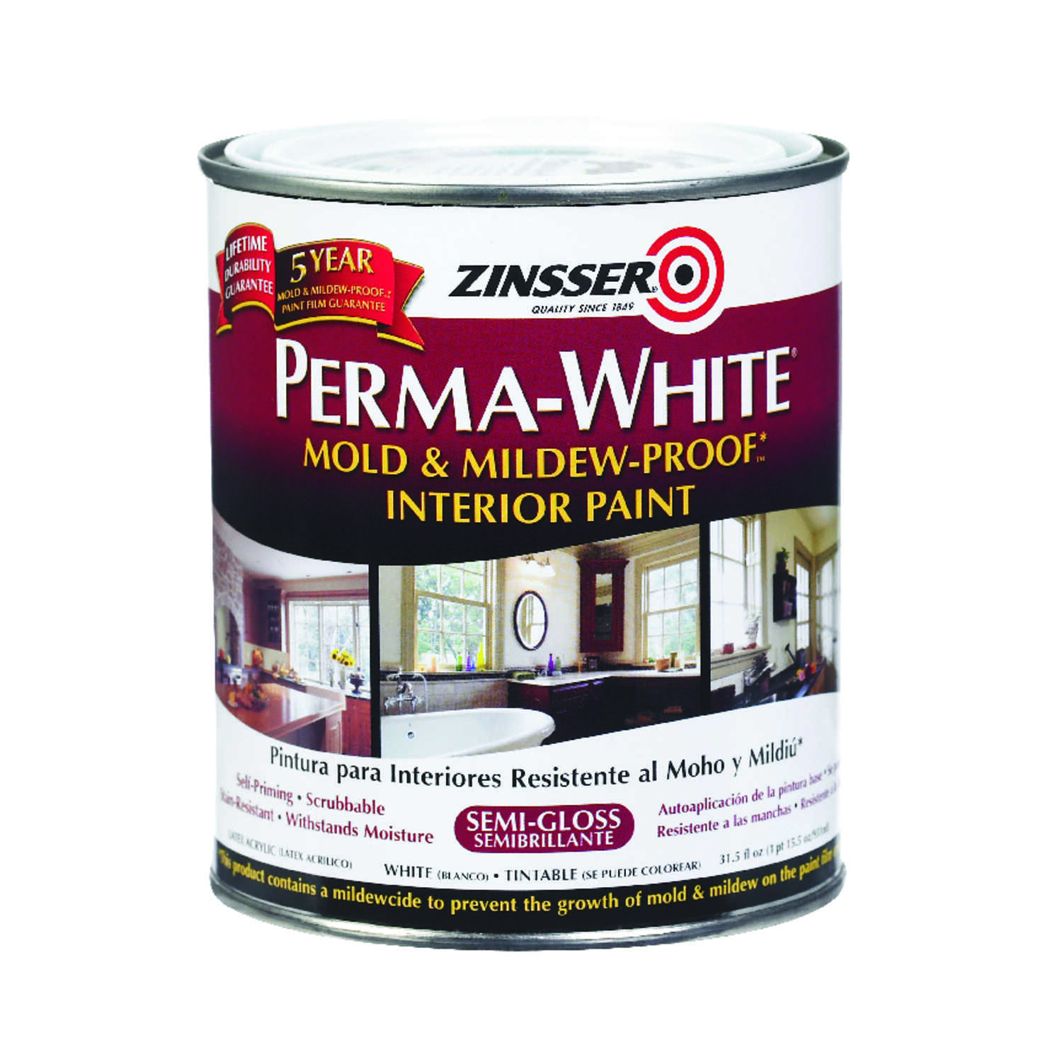 Zinsser  Perma-White  Semi-Gloss  White  Mold and Mildew-Proof Paint  1 qt.