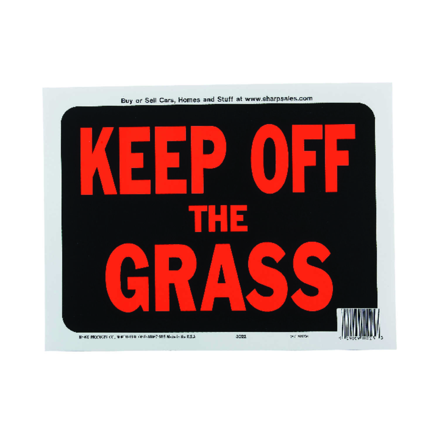 Hy-Ko  English  Keep off the Grass  Sign  Plastic  9 in. H x 12 in. W