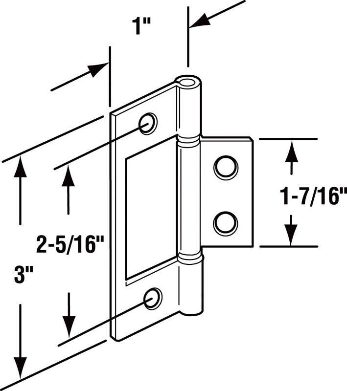 Prime-Line  3 in. L Steel  Bi-fold Door Hinge  2 pk Satin Nickel