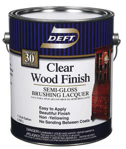 Deft  Clear Wood Finish  Semi-Gloss  Oil-Based  Lacquer  Brushing Lacquer  1 gal. Clear