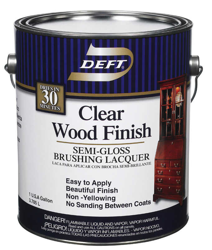 Deft  Wood Finish  Semi-Gloss  Clear  Oil-Based  Brushing Lacquer  1 gal.