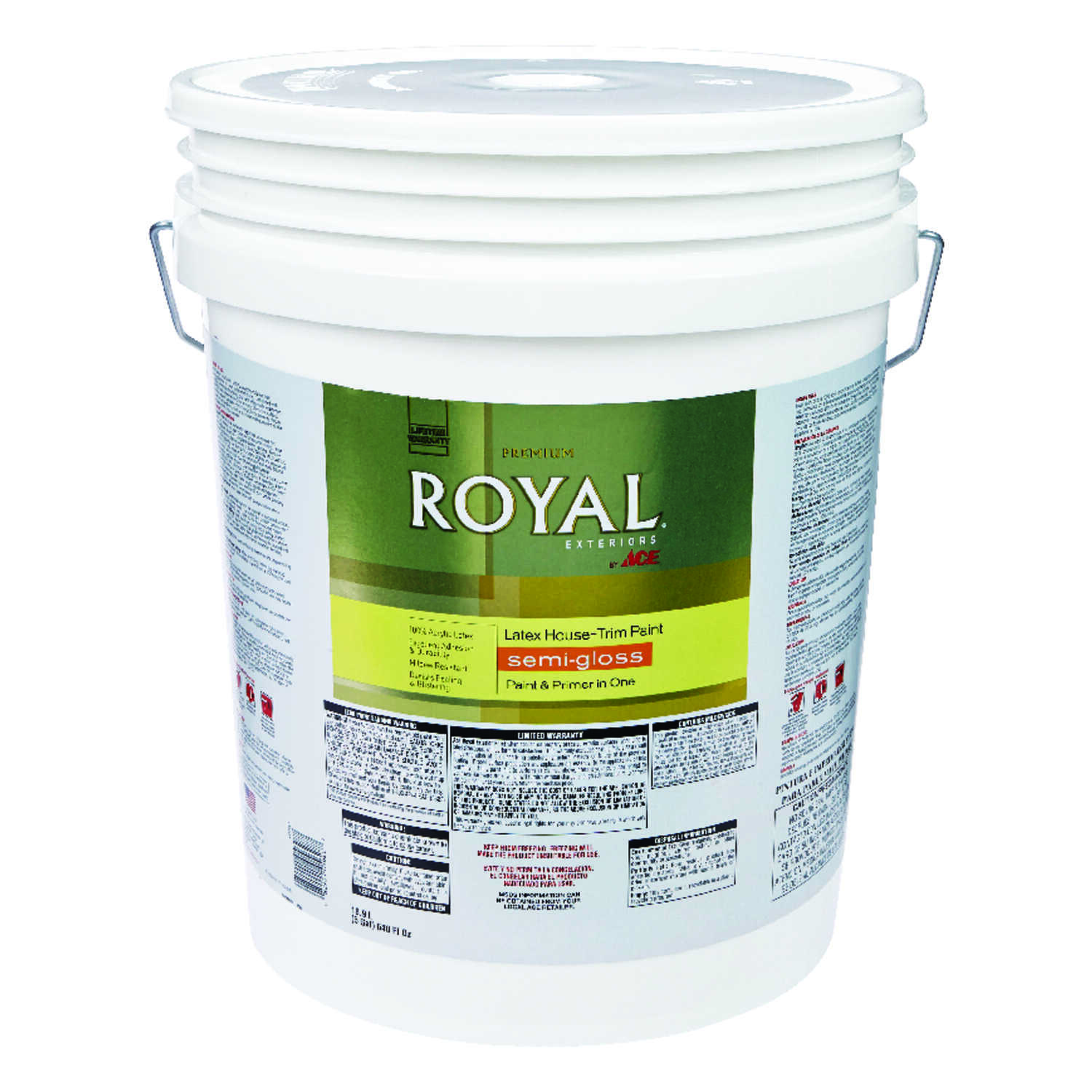 Ace  Royal  Semi-Gloss  Ultra White  Acrylic Latex  House & Trim Paint & Primer  5 gal.