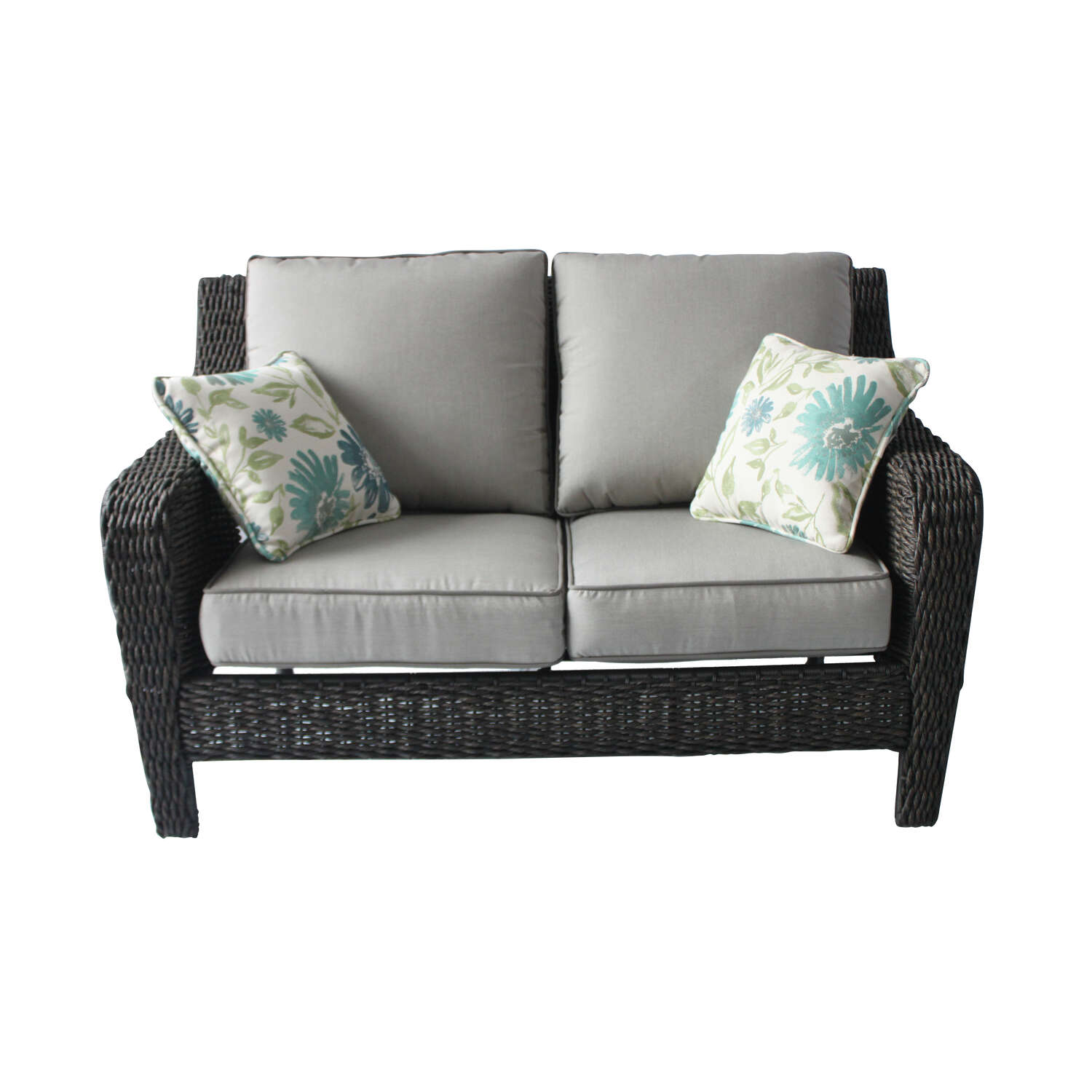 Living Accents  1 pc. Brown  Aluminum Frame Loveseat  Gray