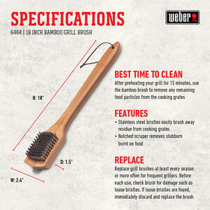 Weber  Stainless Steel  Grill Brush with Scraper