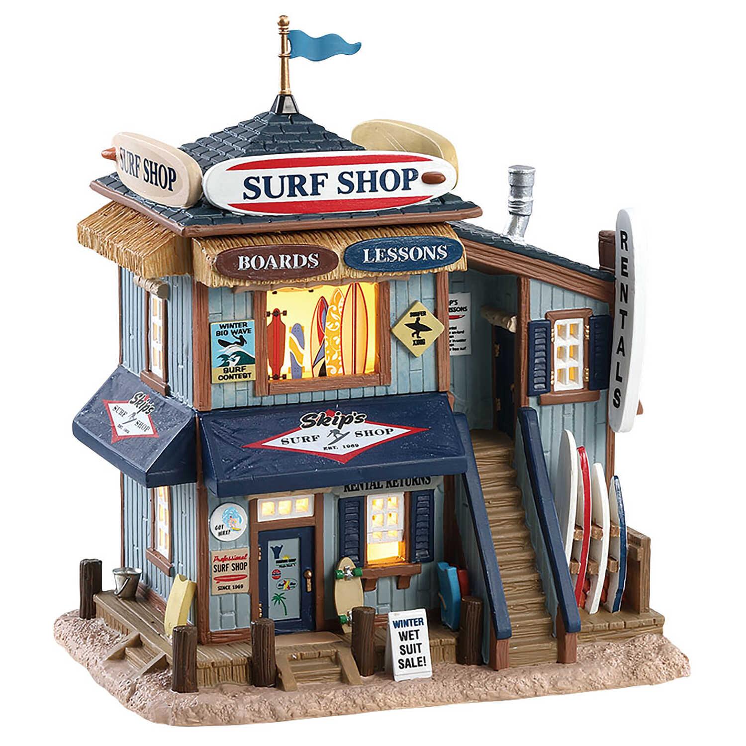 Lemax  Christmas Skip's Surf Shop  Tabletop Decoration  Porcelain  1 pk Multicolored