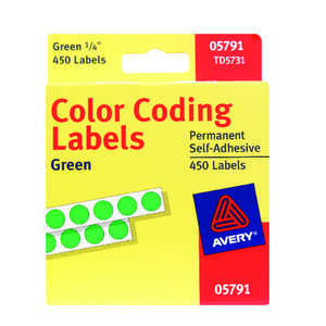 Avery  0.25 in. H x 1/4 in. W Green  Round  450  Green  Color Coding Label