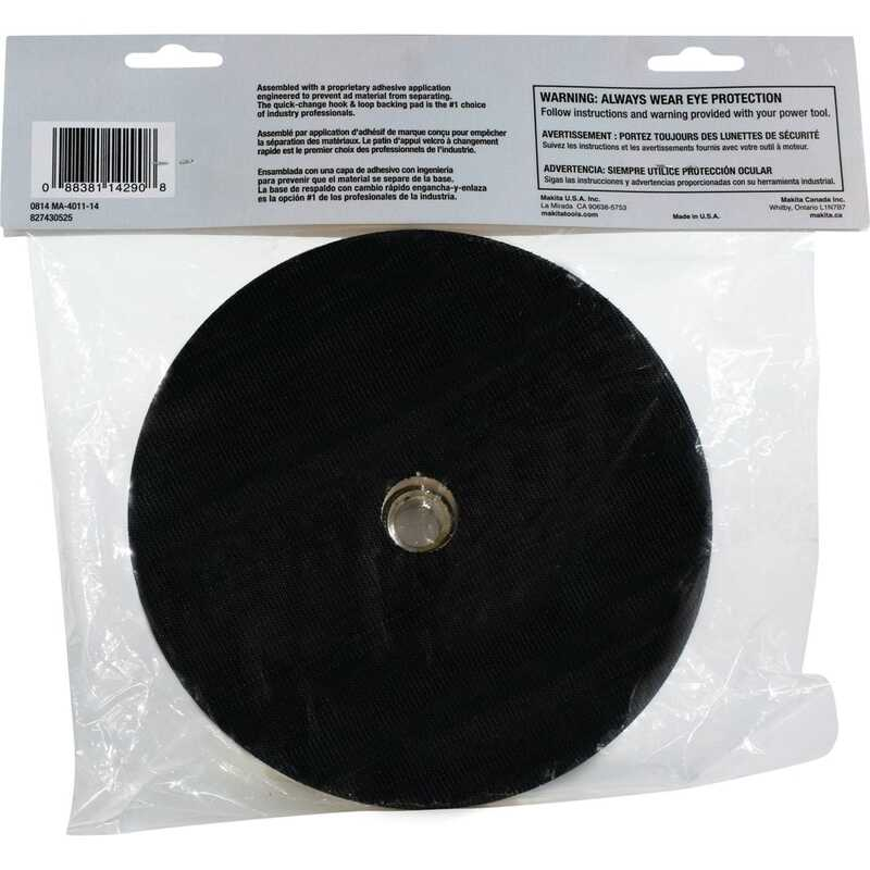 Makita  7 in. Dia. x 5/8 in.   Rubber  Backing Pad  1 pc.