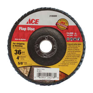 Ace  4 in. Dia. x 5/8 in.   Aluminum Oxide  Flap Disc  36 Grit Coarse  1 pc.
