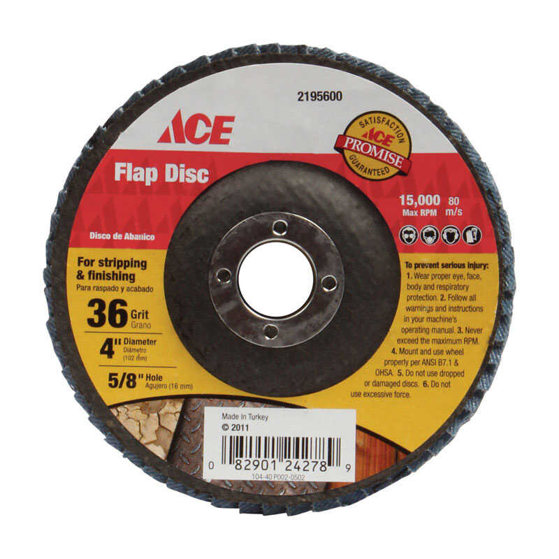 Ace  4 in. Dia. x 5/8 in.   Flap Disc  36 Grit Coarse  1  Aluminum Oxide