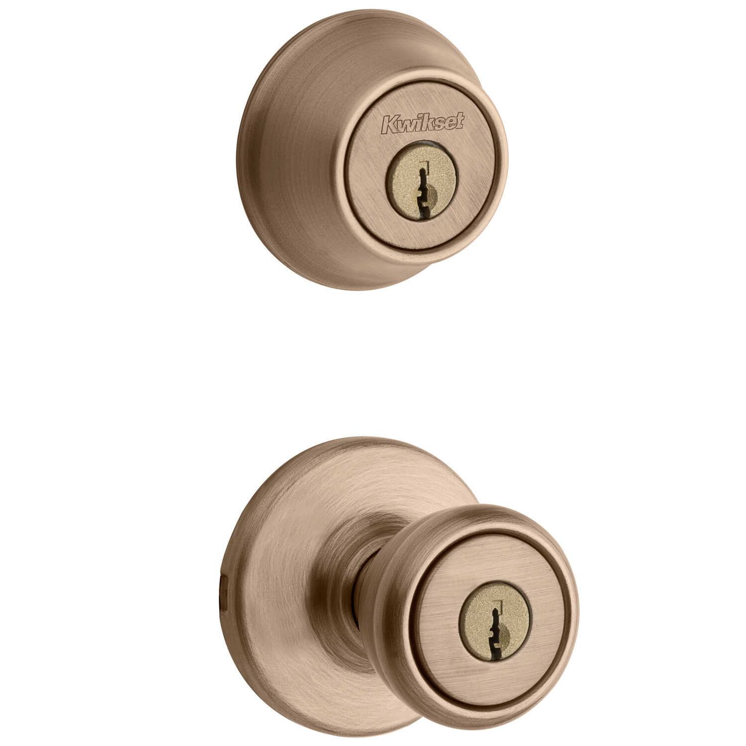 Kwikset  Tylo  Antique Brass  Steel  Knob and Double Cylinder Deadbolt  ANSI/BHMA Grade 3  1-3/4 in.