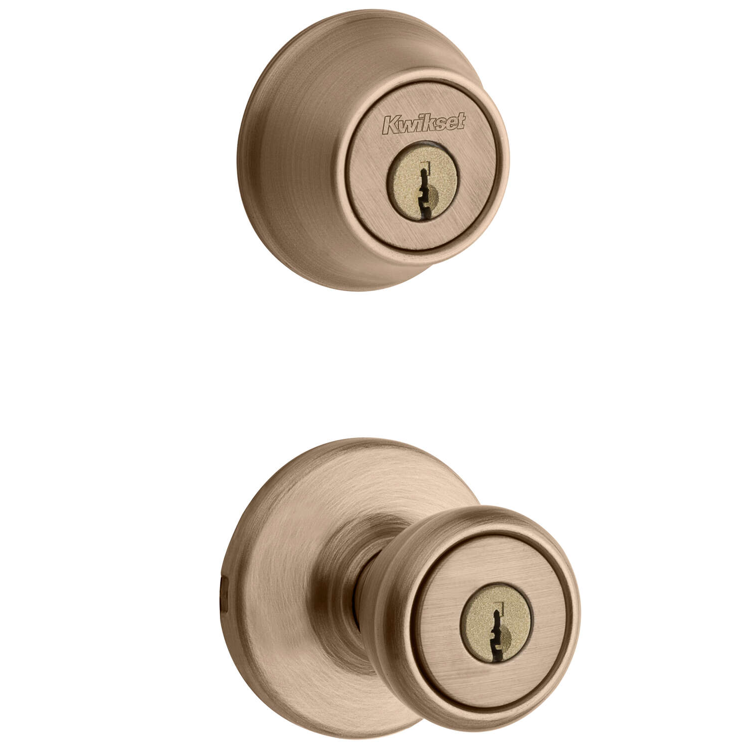 Kwikset  Tylo  Antique Brass  Entry Lock and Double Cylinder Deadbolt  ANSI/BHMA Grade 3  1-3/4 in.