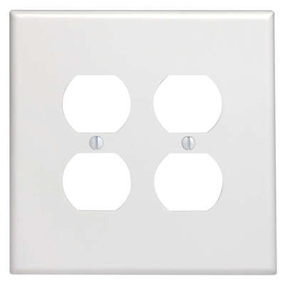 Leviton  White  2 gang Thermoset Plastic  Duplex Outlet  Wall Plate  1 pk