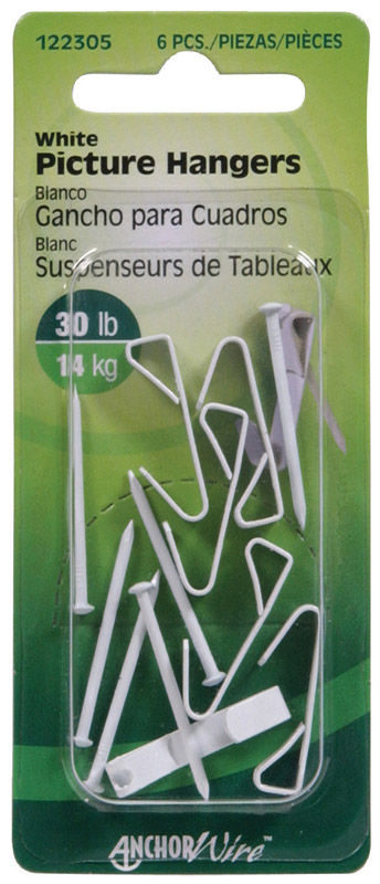 HILLMAN  AnchorWire  Steel-Plated  White  Steel  Picture Hanger  30 lb. 6 pk Standard