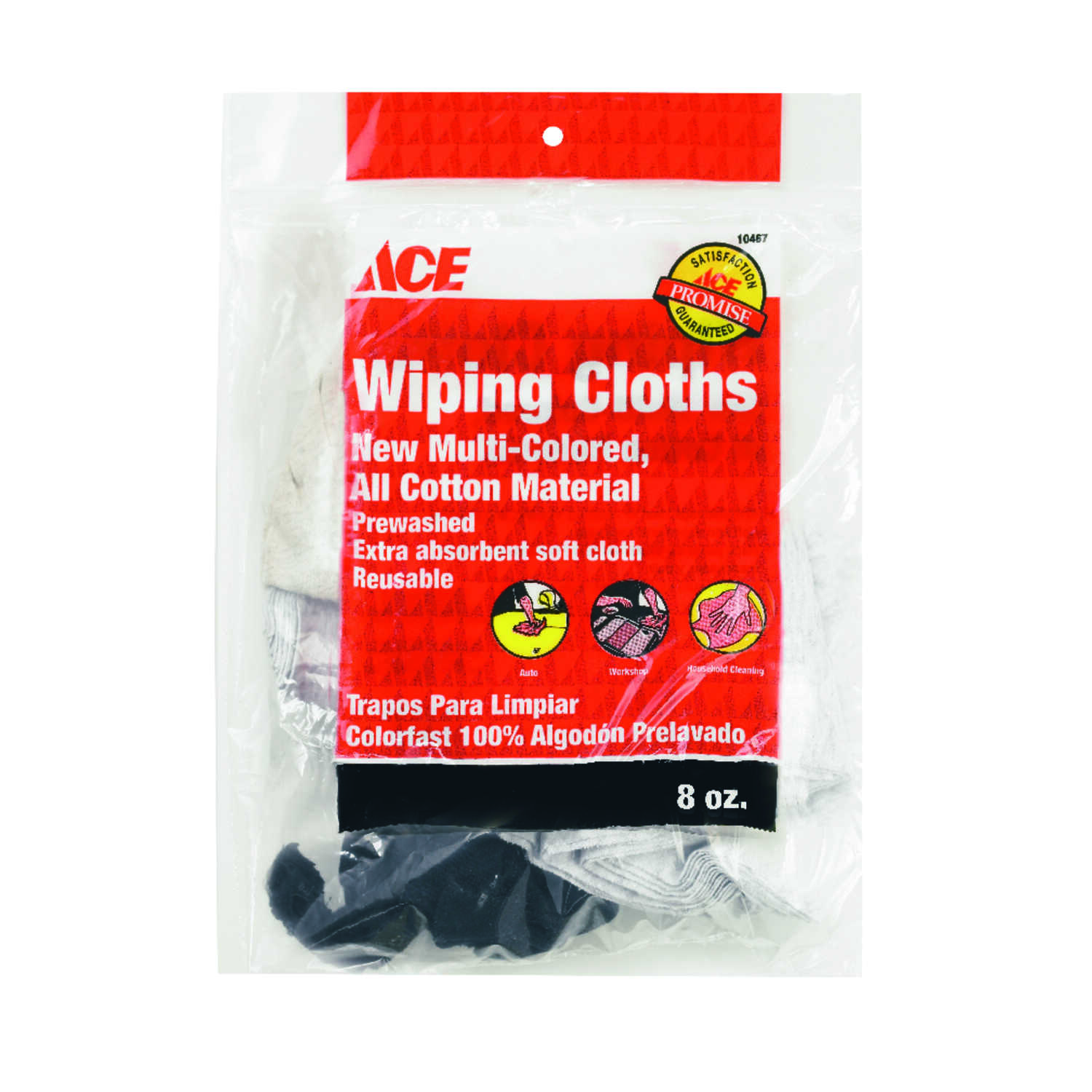 Ace  Assorted Colors  Cotton  Cleaning Cloth  6