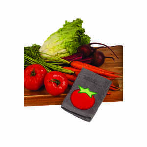 Mu Kitchen  Scrubsy  Gray/Red  Cotton/Polyamide  Tomato  Dish Cloth  1 pk
