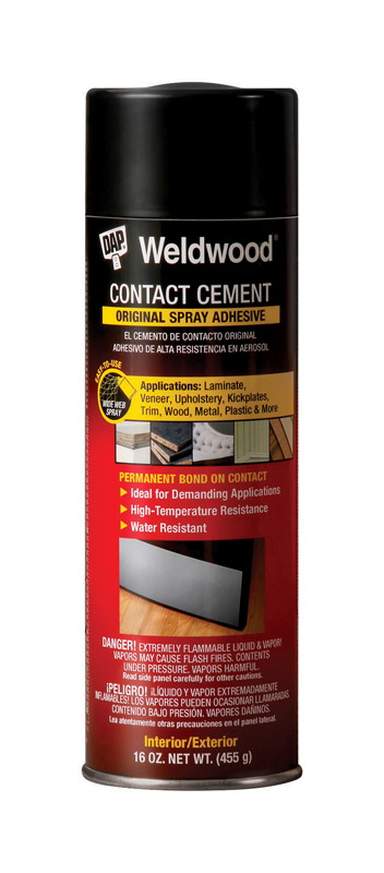 DAP Weldwood High Strength Rubber Contact Cement Spray Adhesive 16 oz. Weldwood® Contact Cement Spray Adhesive is a high-strength, high-temperature-resistant formulation that bonds most woods, particle board, metal, laminate and many plastics including polyethylene and polypropylene. It is ideal for use on trim work, door panels, decorative laminates, upholstery work, and many other demanding applications.