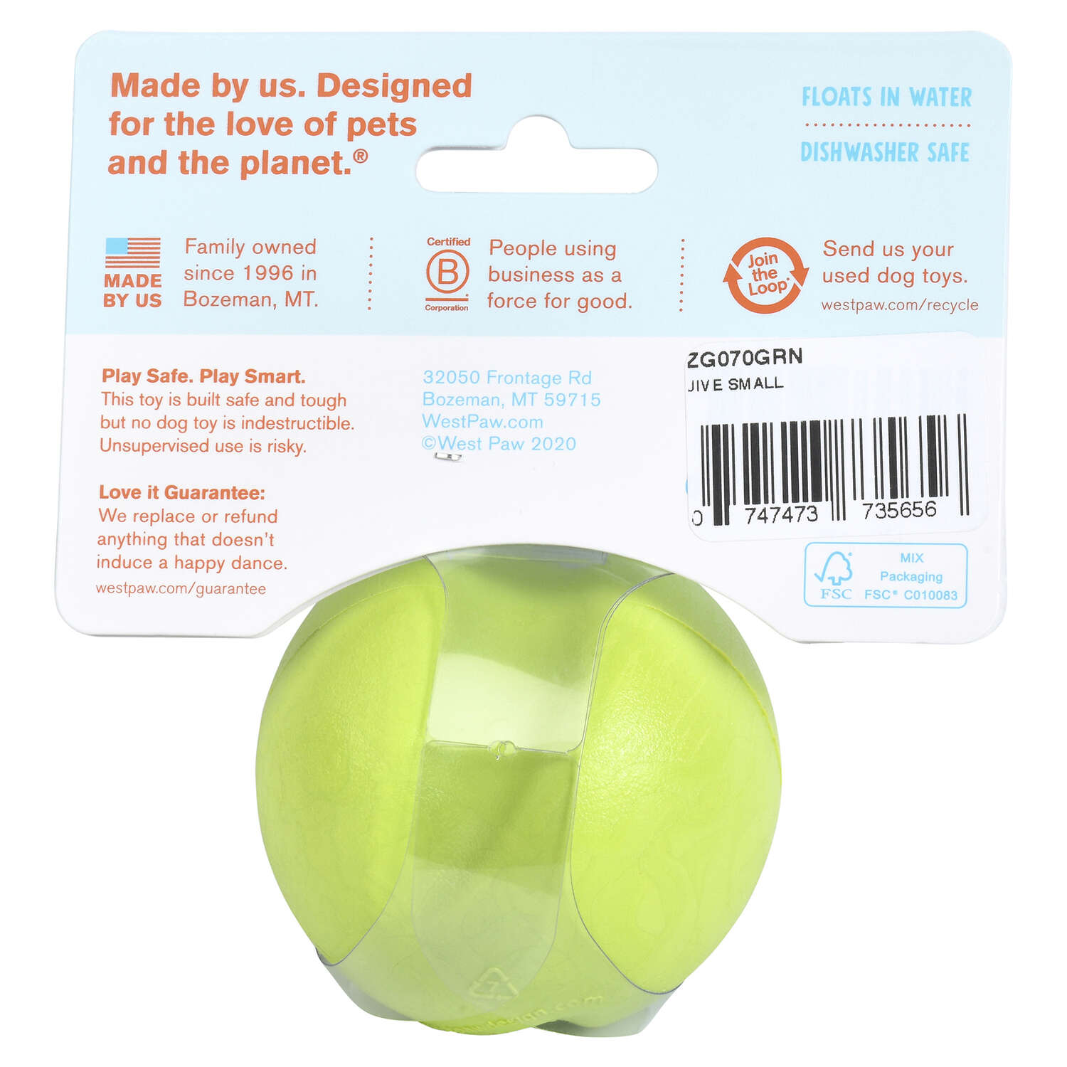 West Paw  Zogoflex  Green  Jive Ball  Ball Dog Toy  Small  Synthetic Rubber