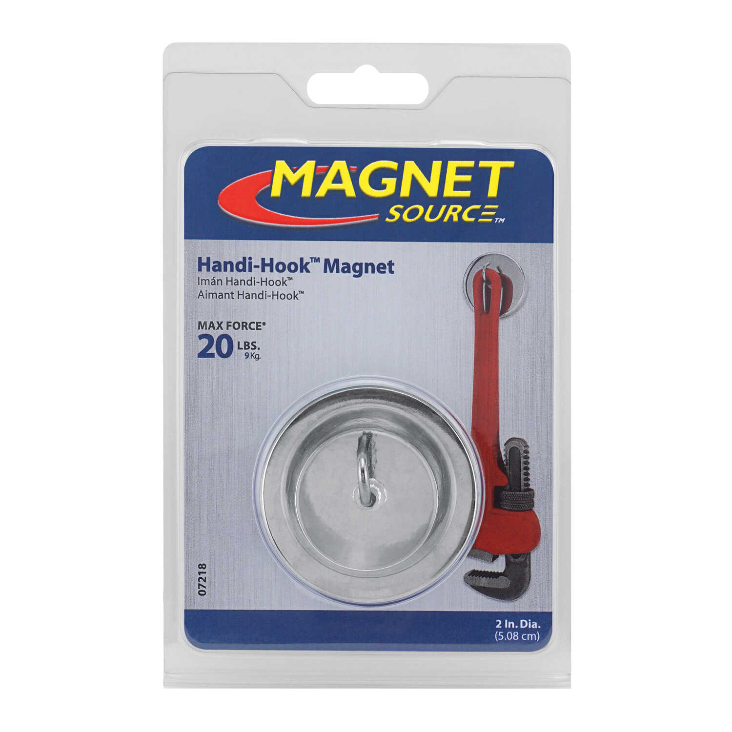 Master Magnetics  Handi-Hook  1.25 in. Ceramic  Magnetic Hook  20 lb. pull 3.4 MGOe Silver  1 pc.