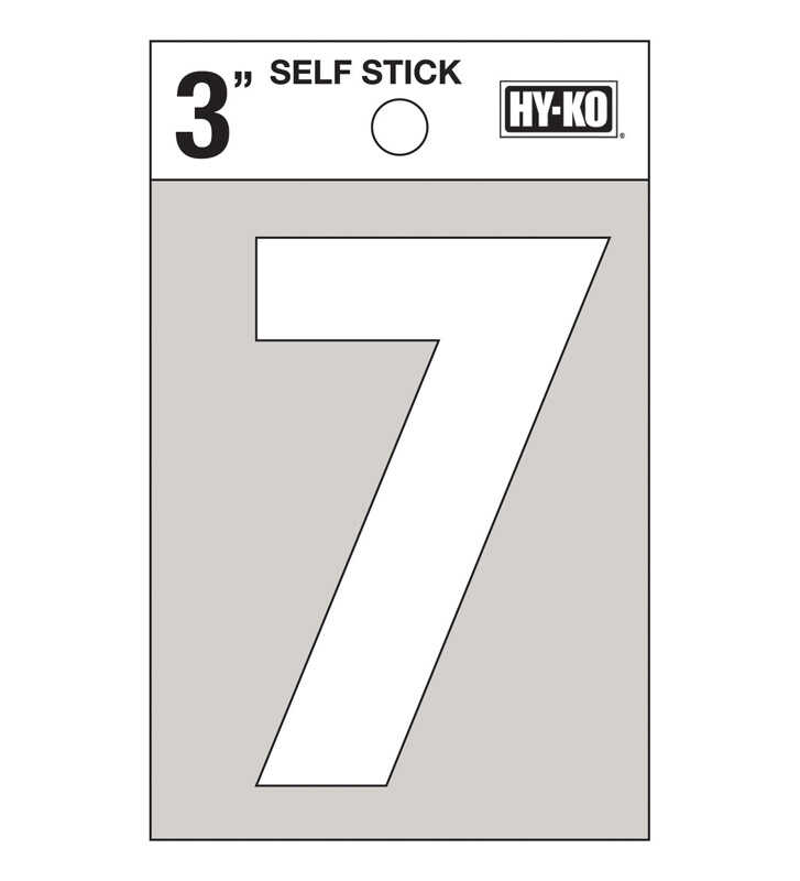 Hy-Ko  Reflective Vinyl  7  Number  Self-Adhesive  3 in. White