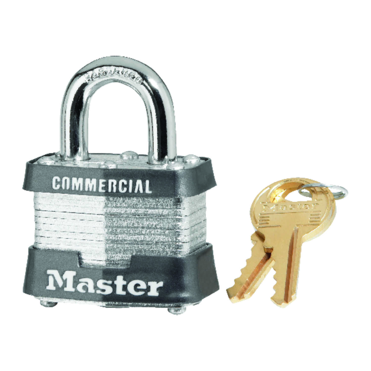 Master Lock  1-5/16 in. H x 1-5/8 in. W x 1-9/16 in. L Laminated Steel  4-Pin Cylinder  Padlock  Key