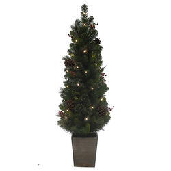 Celebrations  4 ft. Potted Cedar Pine  Prelit 50 count Artificial Tree
