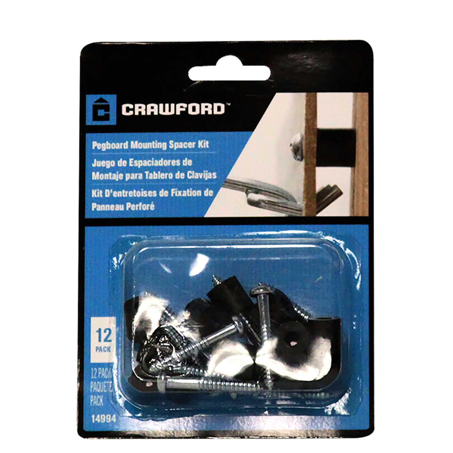 Crawford  Zinc Plated  Black/Silver  Steel  Pegboard Mounting Hardware  12 pk