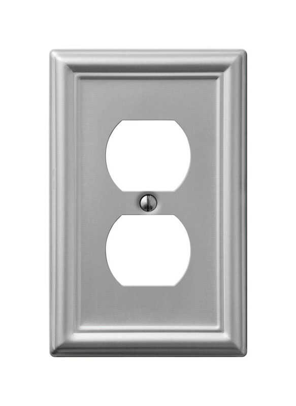 Amerelle  Chelsea  Brushed Nickel  1 gang Stamped Steel  Duplex Outlet  Wall Plate  1 pk