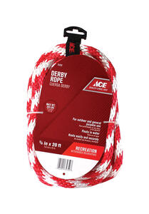 Ace  5/8 in. Dia. x 20 ft. L Red/White  Solid Braided  Poly  Derby Rope