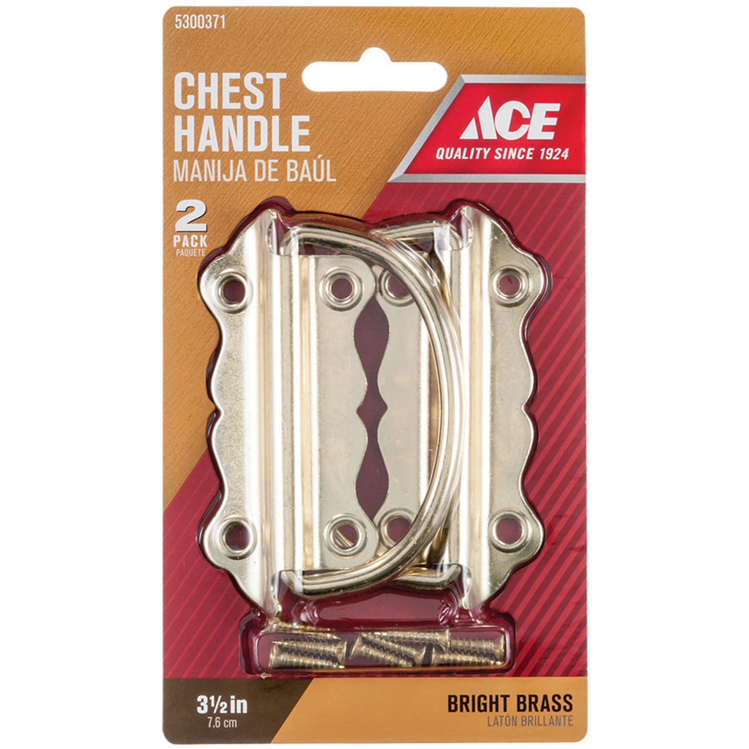 Ace  Bright  3-1/2 in. 3-1/2 in. L 3-1/2 in. 2 pk Chest Handle  Brass