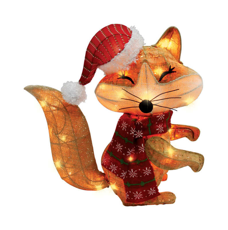 Celebrations  LED Christmas Fox  Yard Art  Brown  MDF  1 pk