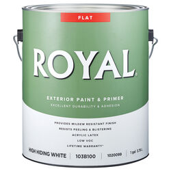 Royal  Flat  High Hiding White  Acrylic Latex  Paint and Primer in One  Outdoor  1 gal.