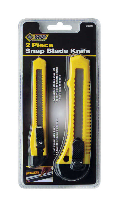 Steel Grip  5-1/2 in. Snap Blade Knife Set  Yellow  Retractable  2 pk