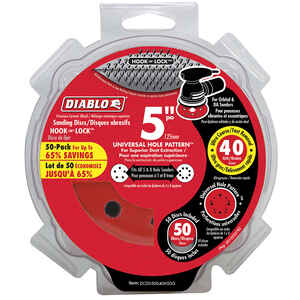 Diablo  5 in. Ceramic Blend  Hook and Lock  Sanding Disc  40 Grit Ultra Coarse  50 pk