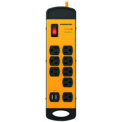 Monster  Just Power It Up  15 ft. L 8 outlets Power Strip w/Surge Protection  Yellow