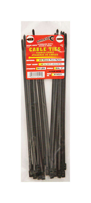 Tool City  11.8 in. L Cable Tie  Black  25 pk