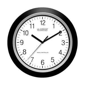 La Crosse Technology  13-1/2 in. L x 2 in. W Indoor  Casual  Analog  Atomic Wall Clock  Glass/Plasti