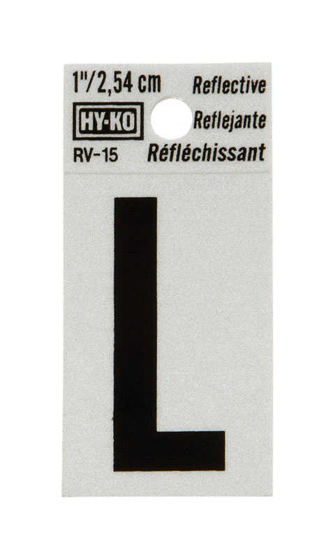 Hy-Ko  1 in. Reflective Black  Vinyl  Letter  L  Self-Adhesive  1 pc.