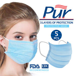 Pur Health Group  Disposable Face Mask  Blue  5 pc.