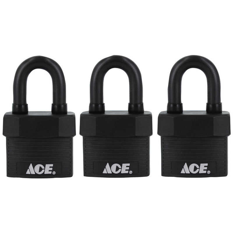 Ace  1-3/4 in. W x 1-5/8 in. H x 1-1/8 in. L Double Locking  Padlock  3 pk Keyed Alike Steel