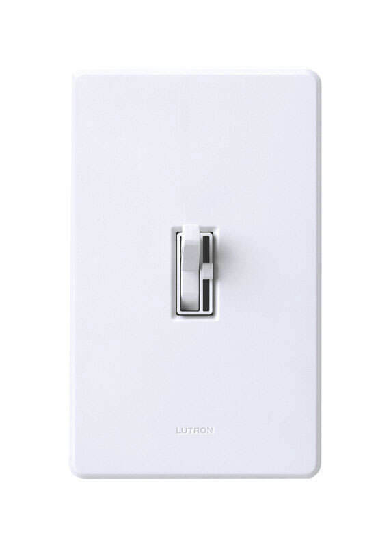 Lutron  Toggler  White  600 watts Toggle  Dimmer Switch  1 pk