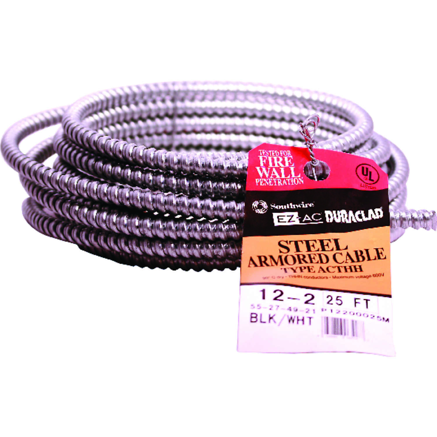 Southwire  25 ft. 12/2  Solid  Steel Armored AC  Cable